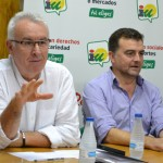 Cayo Lara y Antonio Maíllo alientan a la nueva asamblea local de IU en su visita a Bailén